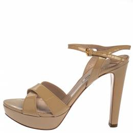 Miu Miu Beige Patent Leather Ankle Strap Platform Sandals Size 38 377690