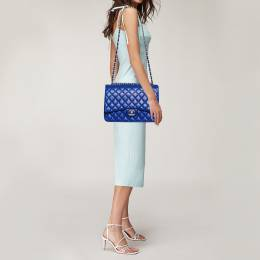 Chanel Blue Quilted Leather Maxi Classic Double Flap Bag 378084