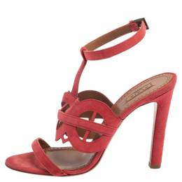 Alaia Pink Suede Cut Out Open Toe Sandals Size 38.5 377836