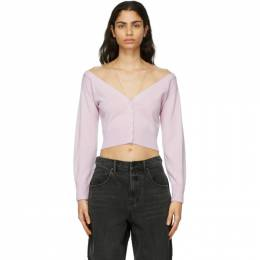 Alexander Wang Purple Fitted Cropped Cardigan 1KC2191128