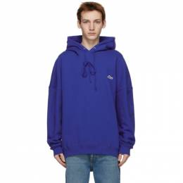 We11Done Blue Embroidered Logo Hoodie WD-TP3-20-707-U-BL
