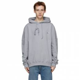 We11Done Grey Embroidered Logo Hoodie WD-TP3-20-707-U-GY
