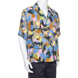 Dior Multicolor Floral Pattern Printed Crepe Short Sleeve Shirt XXL 379437