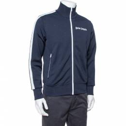 Palm Angels Navy Blue Jersey Contrast Trim Detail Track Jacket M 379429
