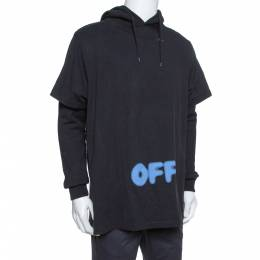 Off-White Black Blurred Off Print Cotton T-Shirt Detail Hoodie S 380042