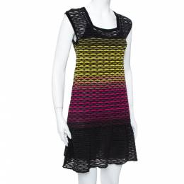 Missoni Multicolor Perforated Knit Ruffle Detail Shift Dress S 379452