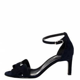 Hermes Blue Suede Night Sandals Size 37 380155