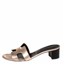 Hermes Metallic Rose Gold Leather Oasis Sandals Size 37.5 380316