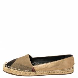 Burberry Gold/Brown Check Canvas And Leather Espadrilles Flats Size 37 381080