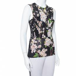 Dolce and Gabbana Black Floral Printed Silk Knit Sleeveless Top M 380125