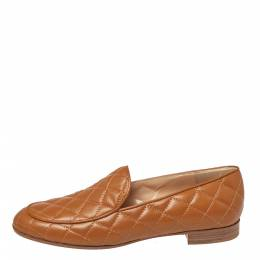 Gianvito Rossi Tan Quilted Leather Marcel Driver Loafers Size 39 380744
