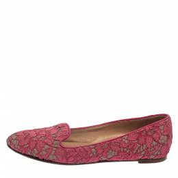 Valentino Pink Floral Lace Smoking Slippers Size 39 380358