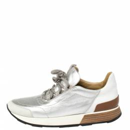 Hermes Silver Leather and Suede Trail Low Top Sneakers Size 38.5 381059