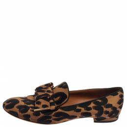 Louis Vuitton Brown Leopard Printed Canvas Bow Detail Smoking Slippers Size 36 375378