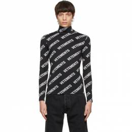 Vetements Black All-Over Logo Fitted Turtleneck ME51TR150B