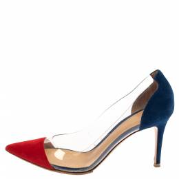 Gianvito Rossi Red/Blue Suede Leather And PVC Plexi Pointed Toe Pumps Size 38.5 381142