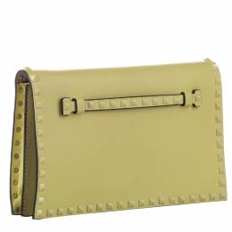Valentino Yellow Leather Rockstud Clutch Bag 379937