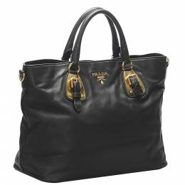 Prada Black Leather Vitello Tote Bag 374718