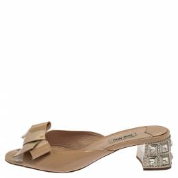 Miu Miu Beige Patent Leather Crystal Embellished Slide Sandals Size 39 381242