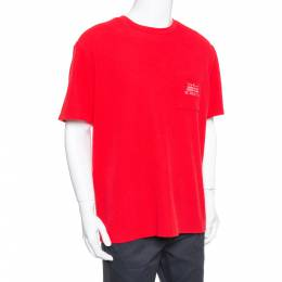 Supreme Red Waffle Cotton Embroidered Logo Detail Crewneck T- Shirt L 381065