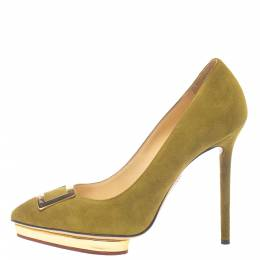 Charlotte Olympia Green Suede Dotty Platform Pumps Size 37.5 381602