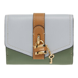 Chloe Taupe and Green Small Trifold Aby Wallet CHC21SP311E18