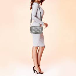 Chanel Grey Quilted Leather and Stingray Trim Medium Boy Flap Bag 380854