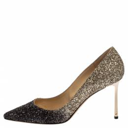 Jimmy Choo Black/Gold Ombre Coarse Glitter Fabric Romy Pointy Toe Pumps Size 40 383057