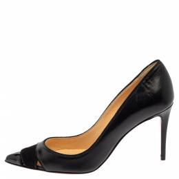 Christian Louboutin Black Leather And Suede Pumps Size 35 381151