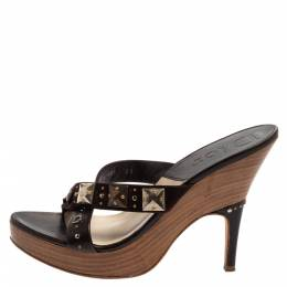 Christian Dior Brown Studded Leather And Suede Cross Strap Wooden Platform Mules Size 39 382798