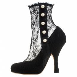Dolce and Gabbana Black Lace Pearl Embellished Socks Boots Size 38 382814