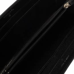 Chanel Black Leather CC Camellia Embossed Zip Around Wallet 382811