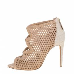 Alexandre Birman Beige Nude Leather And Canvas Caged Sandals Size 38 383828
