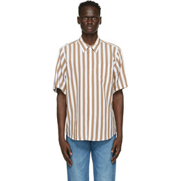 Ami Alexandre Mattiussi Brown and White Striped Short Sleeve Shirt E21HC259.453