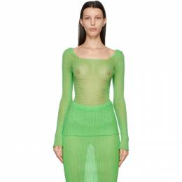 SSENSE Exclusive Green Square Neck Long Sleeve Pullover A.COL0314 a. roege hove