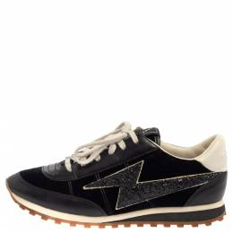 Marc Jacobs Black/White Velvet And Leather Lightening Bolt Sneakers Size 39 384746