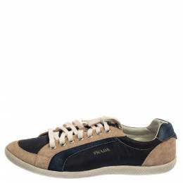 Prada Sport Blue/Beige Suede And Nylon Low Top Sneakers Size 43 384757