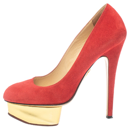 Charlotte Olympia Red Suede Leather Dolly Platform Pumps Size 37.5 383913