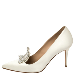 Manolo Blahnik White Satin Crystal Embellished Borlak Pumps Size 39 386005