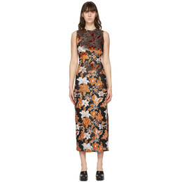 Eckhaus Latta Orange and Black Burnout Velvet Shrunk Dress 871-EL-PS21-BF