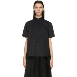 Sacai Black Poplin Half Button-Up Shirt 21-05410