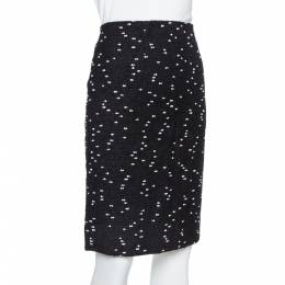 Oscar de la Renta Monochrome Tweed Fitted Short Skirt M 386250