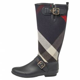 Burberry Black Rubber And Fabric Check Buckle Detail Rain Boots Size 38 386259