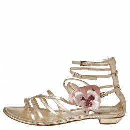 Dior Leather Flower Embellished Strappy Sandals Size 41 385332