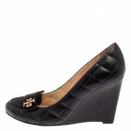 Tory Burch Black Quilted Leather Wedge Pumps Size 36.5 386762