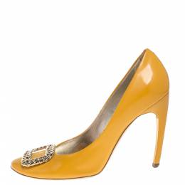 Roger Vivier Yellow Leather Buckle Embellished Pumps Size 39 385200