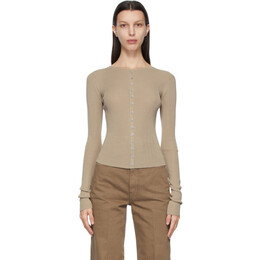 Lemaire Taupe Second Skin Cardigan W 211 KN602 LK093