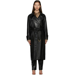 Nanushka Black Vegan Leather Amal Trench Coat NW21RSOW00199