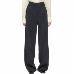 Lemaire Navy Silk Loose Trousers W 211 PA289 LF208