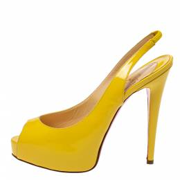 Christian Louboutin Yellow Patent Leather Private Number Slingback Sandals Size 38 385434